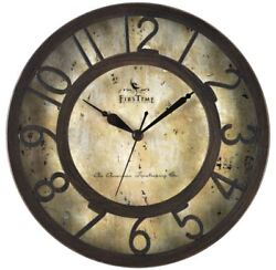Small 8 Brown Wall Clock Round Analog Quiet Rustic Antique Accent Plastic Decor