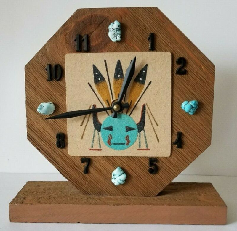 "Vintage Southwest Navajo Sandpainting ""Chiricahua Sun"" Desk Clock w/ Turquoise"