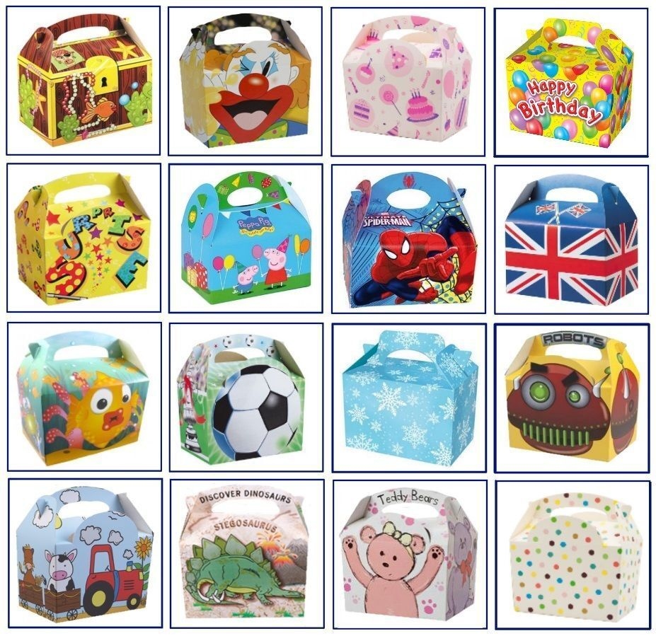12 x Childrens Kids Themed Carry Food Meal Box Birthday Part