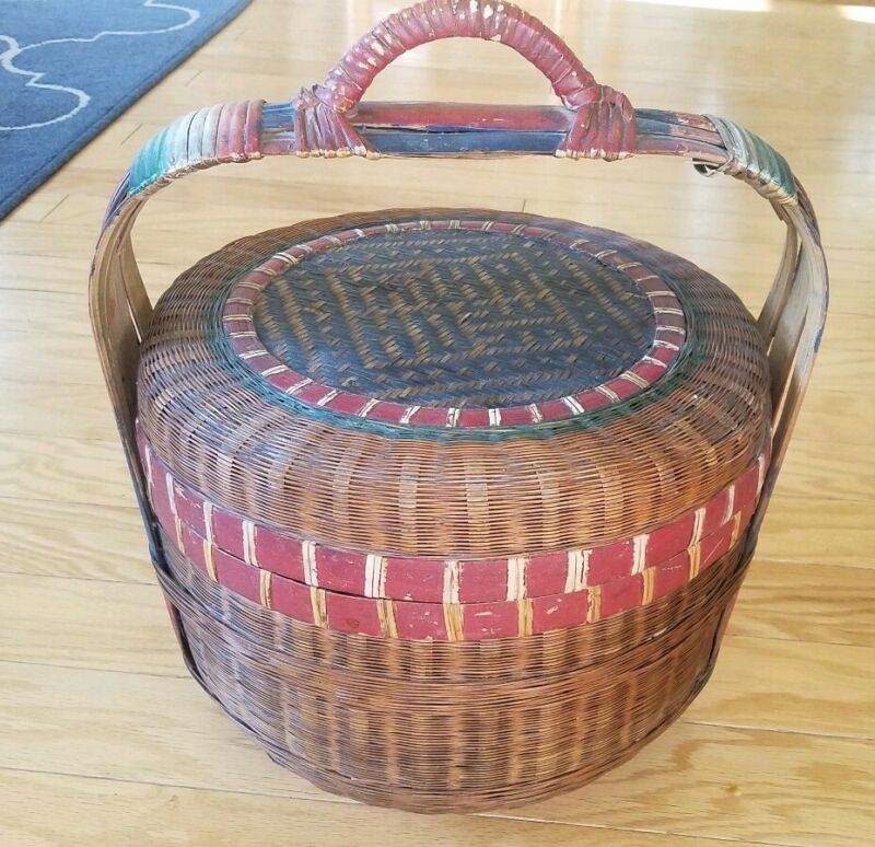 Vintage chinese wicker basket with lid and stand