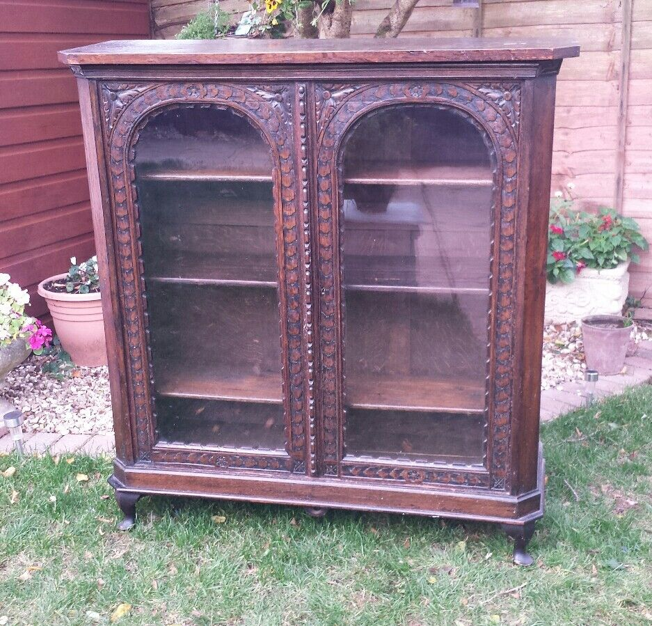 antique french carved oak display cabinet book case solid oak