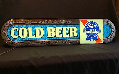 """Vintage 1970's PABST BLUE RIBBON BEER * COLD BEER * Advertising Lighted Sign 37"""""""