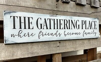 """24"""" Large FARMHOUSE wood sign THE GATHERING PLACE kitchen rustic wood sign"""