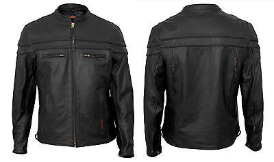 - Interstate Leather Men's Scooter Jacket Black 4XL I5373