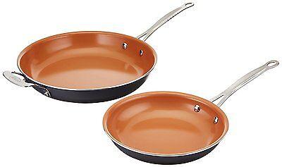 """Gotham Steel Ceramic and Titanium Nonstick 2 Piece Fry Pans Set - 9.5"""" & 12.5""""!"""