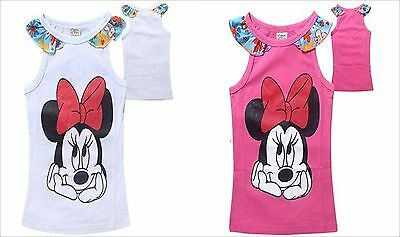 Girl's Disney's Minnie Mouse  PINK or WHITE Floral Tank Top  Shirt NEW FREE SHIP - Minnie Mouse Pink Dress