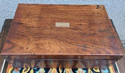 Antique English Anglo Indian Teak Campaign Writing Slope Desk Folding 19th c.