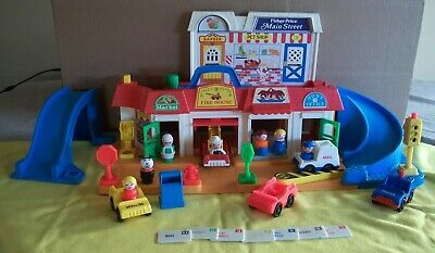 Vintage Fisher Price Main Street Little People Play Set # 2500 Complete