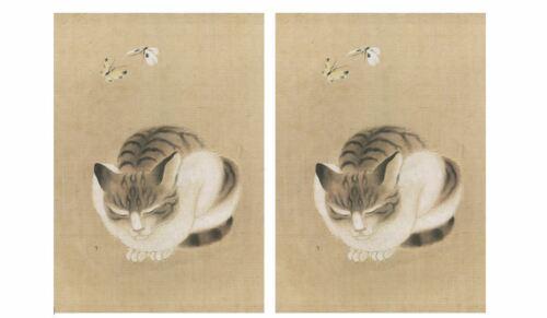 2 CAT KITTEN NOTE CARDS GREETING CARDS & ENVELOPES Notecards Japanese Artist NEW