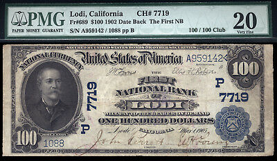 100  1902 Db The First National Bank Of Lodi  California Tough  100 Large Size