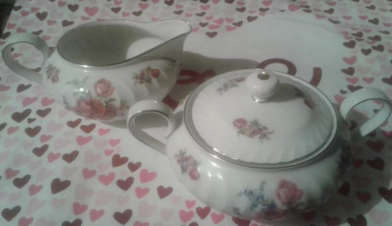 Beautiful Bavarian Covered Sugar Bowl & Creamer Porcelain pink Roses silver trim