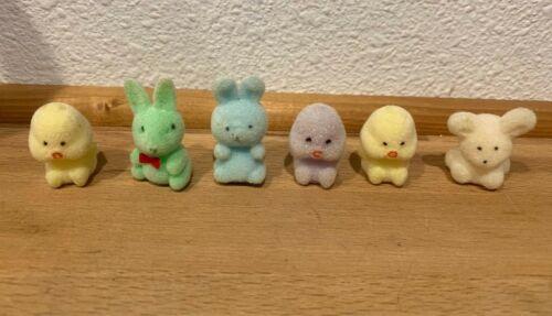 6 Vintage Flocked Fuzzy Plastic Easter Rabbit Bunny Chicks miniatures