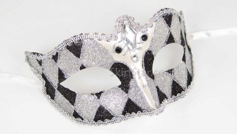 VENETIAN JESTER MASK Masquerade Glitter Black White costume Diamond New Years