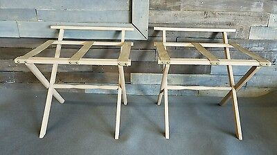 2 Vintage SCHEIBE Wood Luggage Stand