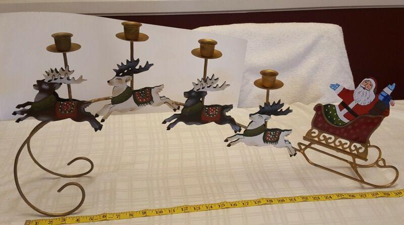 Christmas Santa sleigh & Reindeers Candle holder Centerpiece mantel display Vtge