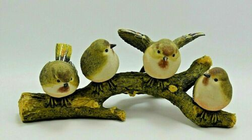 "Finch Birds on Branch 4 Resin Birds Measures 11"" Beautiful"