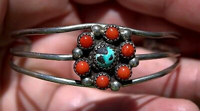 Handmade Old Pawn Navajo Sterling Silver & Turquoise & Coral Bracelet