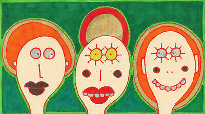 Original Drawing by Jay Snelling. Outsider Art Brut. Three Saints on Green