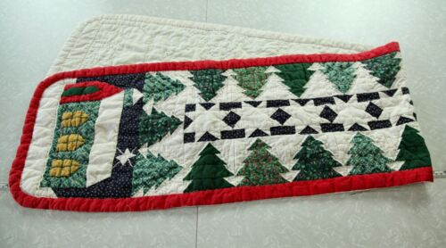 """Vintage Hand Quilted Cotton Table Runner Christmas Patchwork 13"""" x 66"""" Country"""