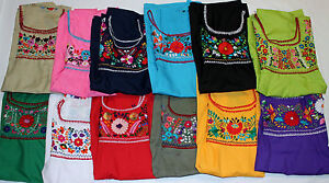 Peasant-Vintage-Tunic-Embroidered-Mexican-Blouse-Top-Assorted-Colors