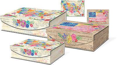 Punch Studio Large Nesting Flip Top Boxes   America The Beautiful 42703N
