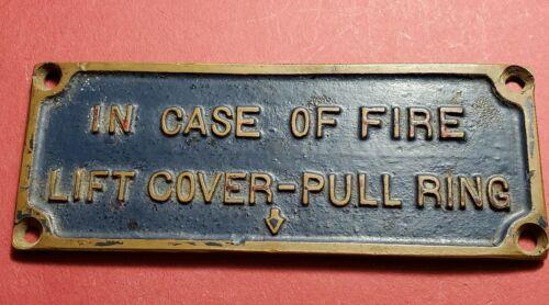 Vintage Brass Fire Alarm Pull Box Instruction Plaque