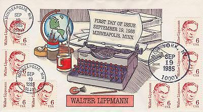 COLLINS HAND-PAINTED FDC FIRST DAY COVER 1985 WALTER LIPPMANN TYPEWRITER