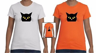 Women's Cute Cat Front & Back Halloween Graphic - Cute Halloween Graphics