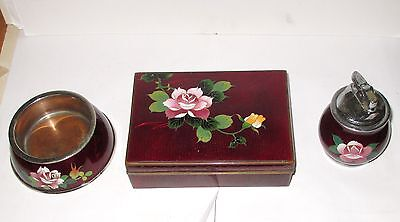 PIGEON BLOOD CLOISONNE ENAMEL FLORAL DESIGN HUMIDOR BOX ASH TRAY AND LIGHTER SET on Rummage