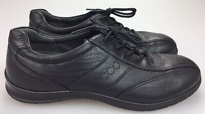 Ecco Black Leather Perforated Spell Out Sneakers Women's 39 US 8-8.5 Lace Up Ecco Womens Charm