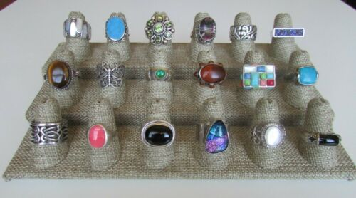 Lot of 18 Sterling Silver Multi Gemstone Statement Rings Bands Various Sz 6 7 8