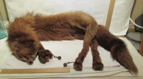 vintage FOX STOLE - FUR - Mahogany RED - Wrap / Scarf / Collar - FULL BODY LEGS