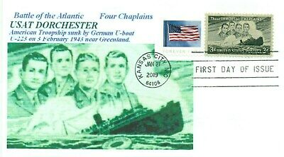 Atlantic Four - USAT DORCHESTER SINKING ATLANTIC Four Chaplains #956 Image Cachet First Day PM