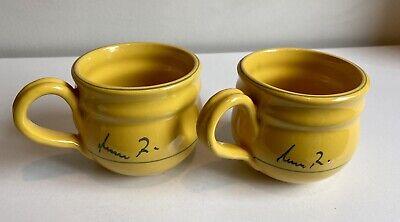 "2 Mamma Ro Signed Glazed Marigold Yellow Pottery 3 3/4"" Mugs"