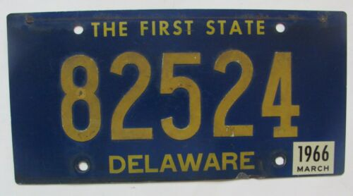 1966 Delaware car license plate ORIGINAL