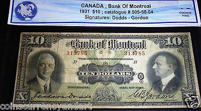 1931 Bank Of Montreal  10 Large Canadian Chartered Banknote