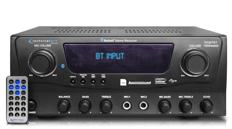 NewTechnical Pro 1000W Professional Bluetooth Receiver w USB/SD Card & Mic Input