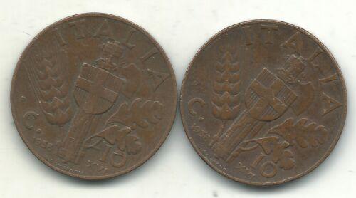 LOT OF 2  VERY FINE VF 1938 R 10 CENTESIMI ITALY COIN-JUN241