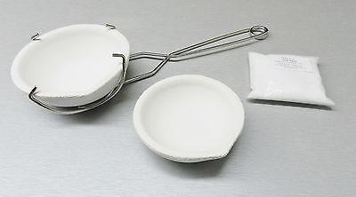 Melting Crucible Dish Set Kit 2 Crucibles Whip Handle & Borax - Melt Gold Silver