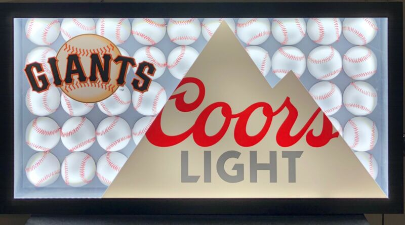Coors Light LED Beer Sign SF GIANTS Man Cave Bar Baseball