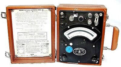 Vintage 1977 Weston Ac-dc Wattmeter Model 310 In Wooden Case Made In The Usa
