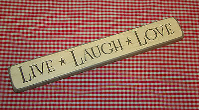 """Rustic Primitive Country Engraved Wood sign """"LIVE LAUGH LOVE"""" home decor"""