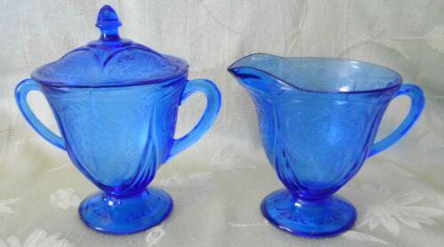 Scarce Hazel Atlas Cobalt Blue Royal Lace Footed Creamer & Sugar with LID