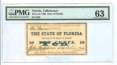 1863  10 Cents South Carolina Charleston Bank Of State S C  Pmg 63 Choice Unc
