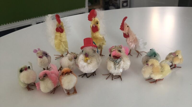 12 Vintage 60's Chenille Pipe Cleaner Easter Chicks  Roosters Miniature