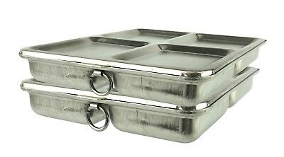 Two Vintage 4 Segment Stainless Steel Food Pan Trays With Lids Rings