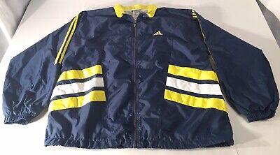 Adidas Full Zip Windbreaker Track Jacket Mens Large Blue/Yellow/White Full Zip Windbreaker