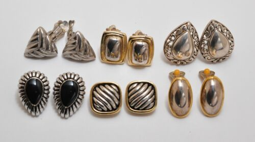 Vintage silver/gold tone, metal clip on earrings Lot of 6