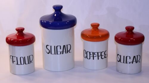 VTG Holiday Design Kitchen Made USA MCM Containers Set Lot 4 Ceramic Multi-color