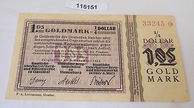 1,05 Goldmark Banknote wertbeständiges Notgeld Clausthal 1923 (115151)